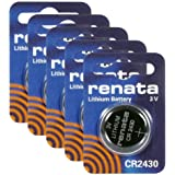Renata CR2430 Lithium Coin Batteries 3V Blister Card Packaged For Peg Hook Durable (5 Pack)