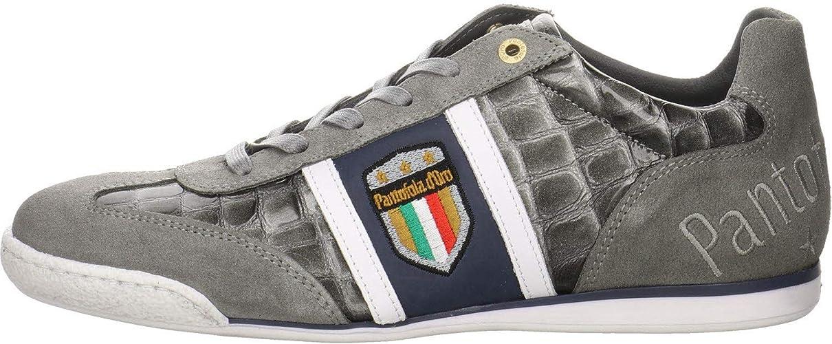 Pantofola d/'Ora Imola Crocco Uomo Low Black Mens Leather Trainers