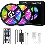 Led Strip Lights 32.8ft/10M with 44 Keys IR Remote and 12V Power Supply Flexible Color Changing 5050 RGB 300 LEDs Light…