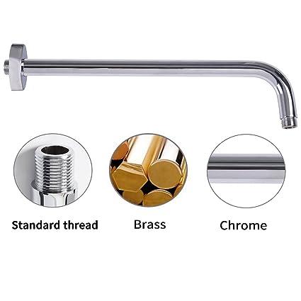 Artbtah 16 Inch Extra Long Solid Brass Rain Shower Head Arm With Flange,  Chrome