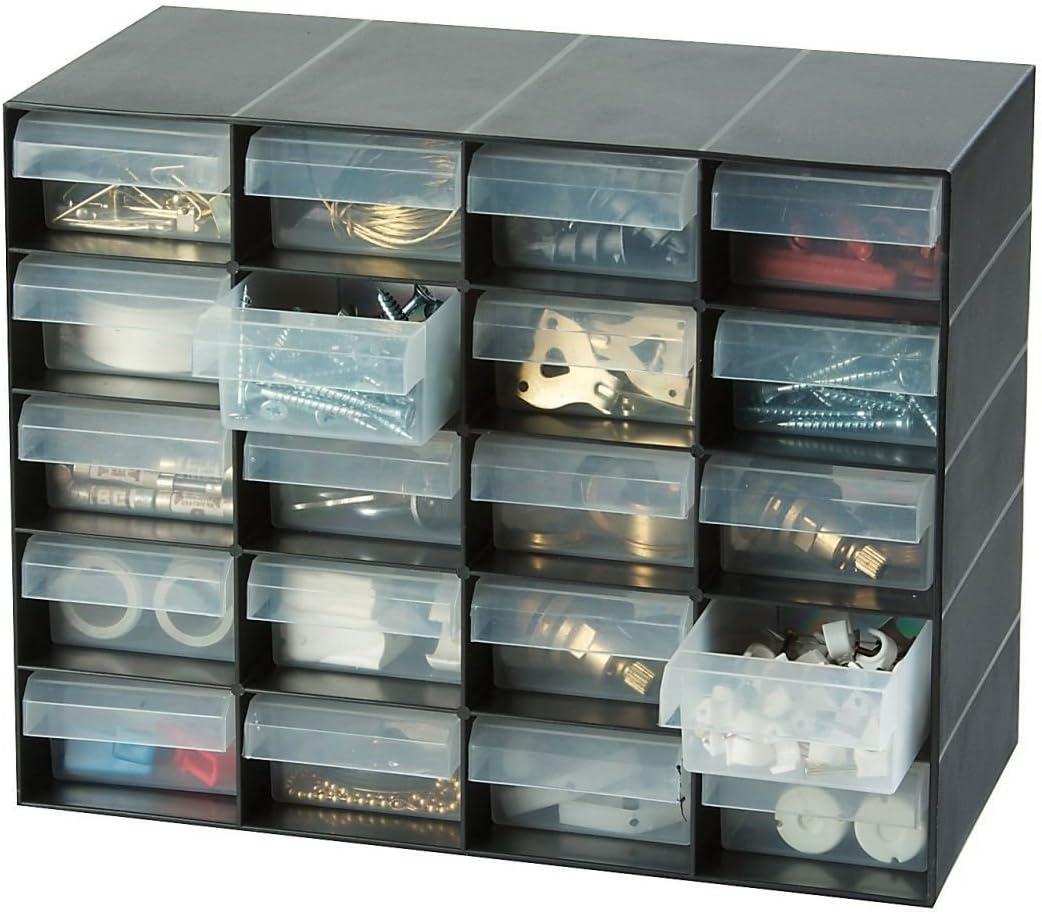 Gabinete de almacenamiento de plástico de 20 cajones Britten & James para artículos pequeños. Perfecto para el hogar, garaje o cobertizo.