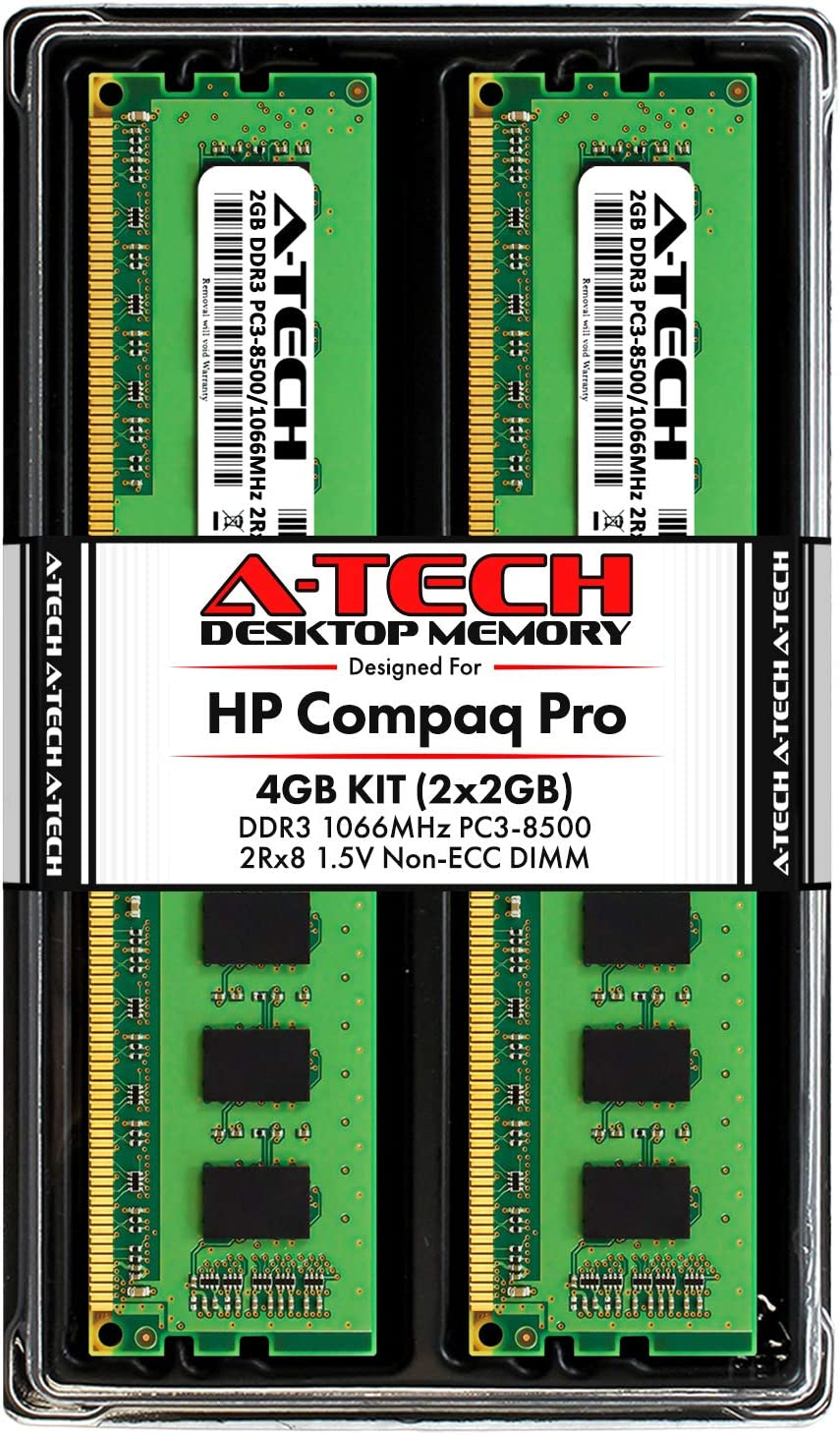 A-Tech 4GB (2 x 2GB) RAM for HP Compaq 4000 Pro & 6000 Pro - (Small Form Factor & Microtower) - DDR3 1066MHz PC3-8500 Non-ECC DIMM Memory Upgrade Kit