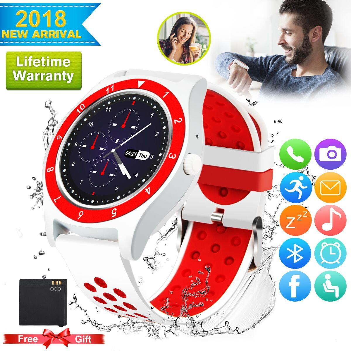 Bluetooth Smart Watch For Android Phones,2018 Smartwatch Android Phone Watch, Waterproof Smart Watches Touchscreen With Camera Compatible Android Samsung IOS Iphone X 8 7 6 6S 5 Plus For Mens Women
