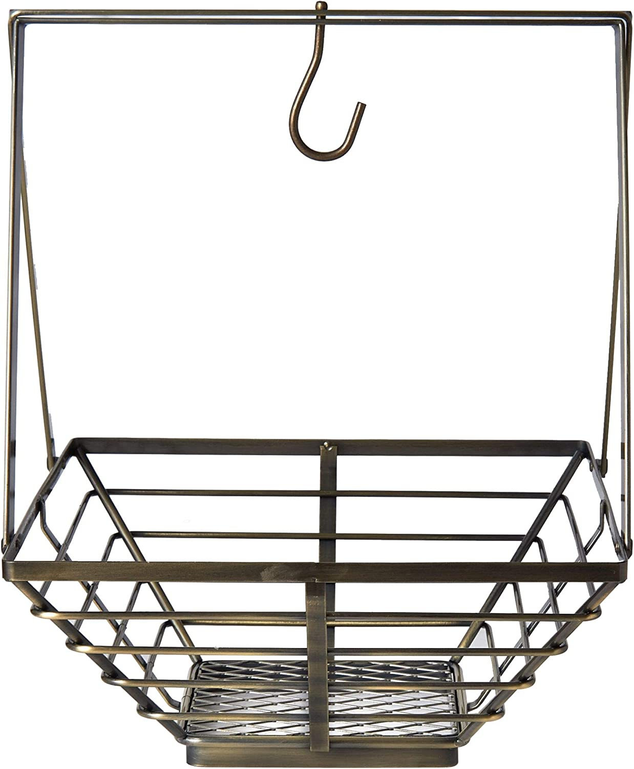 Gourmet Basics by Mikasa Rustic Basket with Banana Hook, One Size, Brass