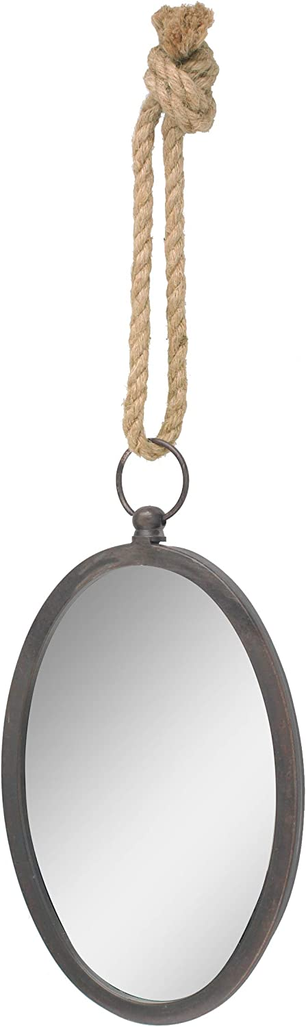 Stonebriar Oval Nautical Mirror for Wall with Hanging Loop, Unique Home Décor for Bathroom, Bedroom, Office, or Hallway, Large