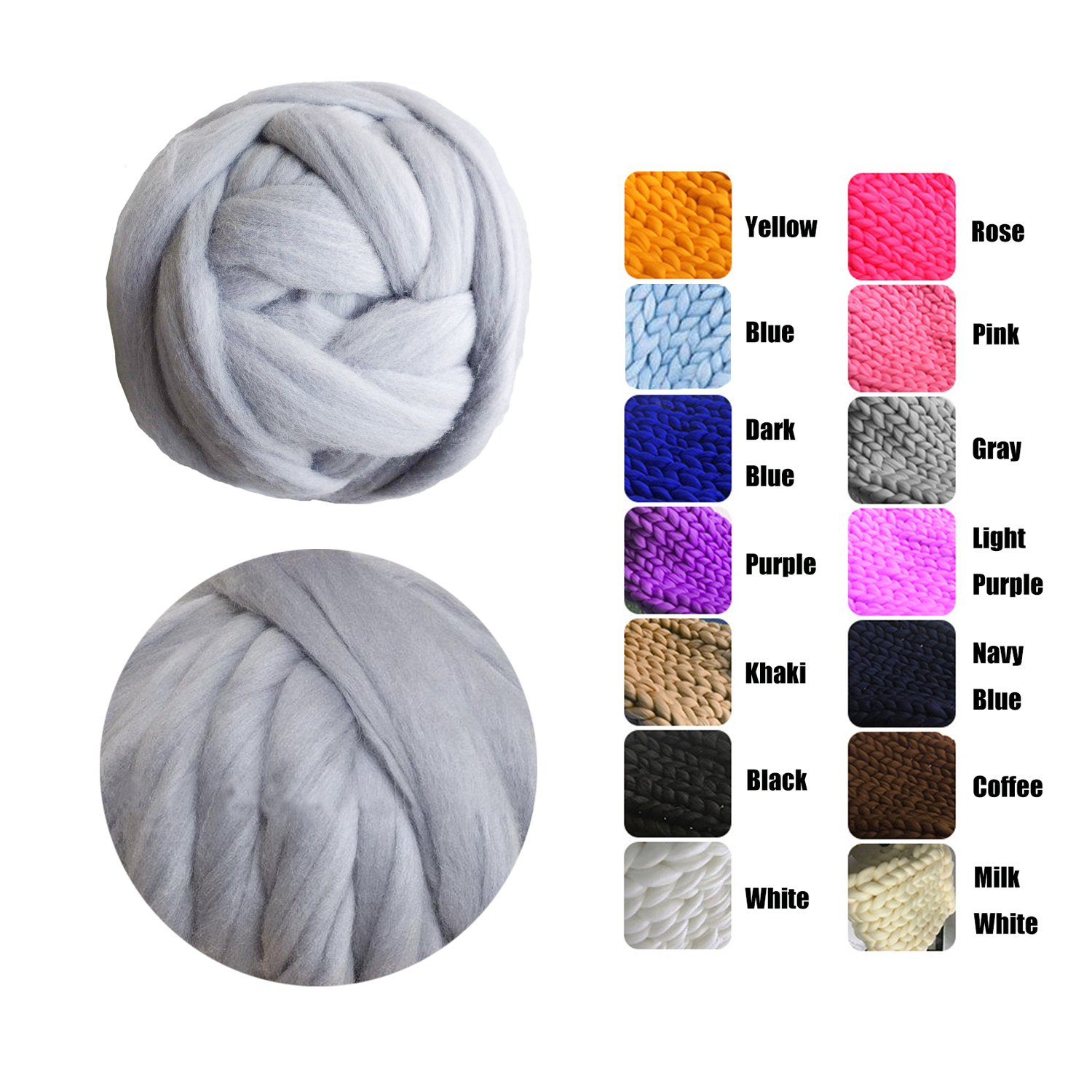 EASTSURE Chunky Roving Merino Wool Yarn Knit Yarn DIY Blanket Giant Roving for Arm Knitting,Grey,6.6LB/3KG by EASTSURE (Image #1)