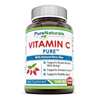 Pure Naturals Vitamin C with Rose Hips, 1000 Mg, 240 Count