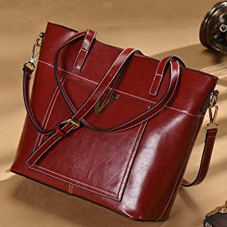 Ploekgda Genuine Leather Satchel Purses and Handbags for Women Shoulder Tote Bags (Color : Black)