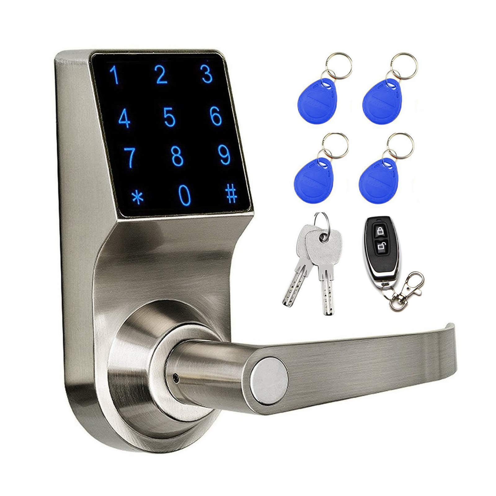 COLOSUS NDL319 Keyless Electronic Digital Smart Door Lock for Home & Office Security, Touchscreen - 50 User Codes + 4 Key Fobs + 1 Remote + 2 Keys (Silver) ...