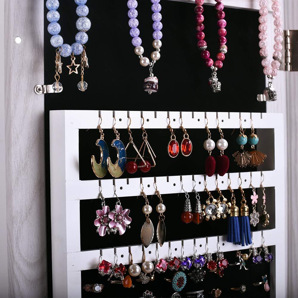 Goesfun Jewelry Cabinet Lockable Armoire Jewelry Box Wall Jewelry Armoire Full Length Mirror with Storage Jewelry Mirror Cabinet Over The Door,Lockable Jewelry Organizer