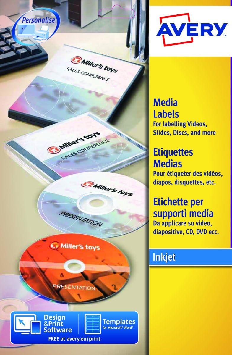 Avery España L7676-25. Caja de 50 Etiquetas Blanca Mate para CD, diámetro 117 mm: Amazon.es: Oficina y papelería