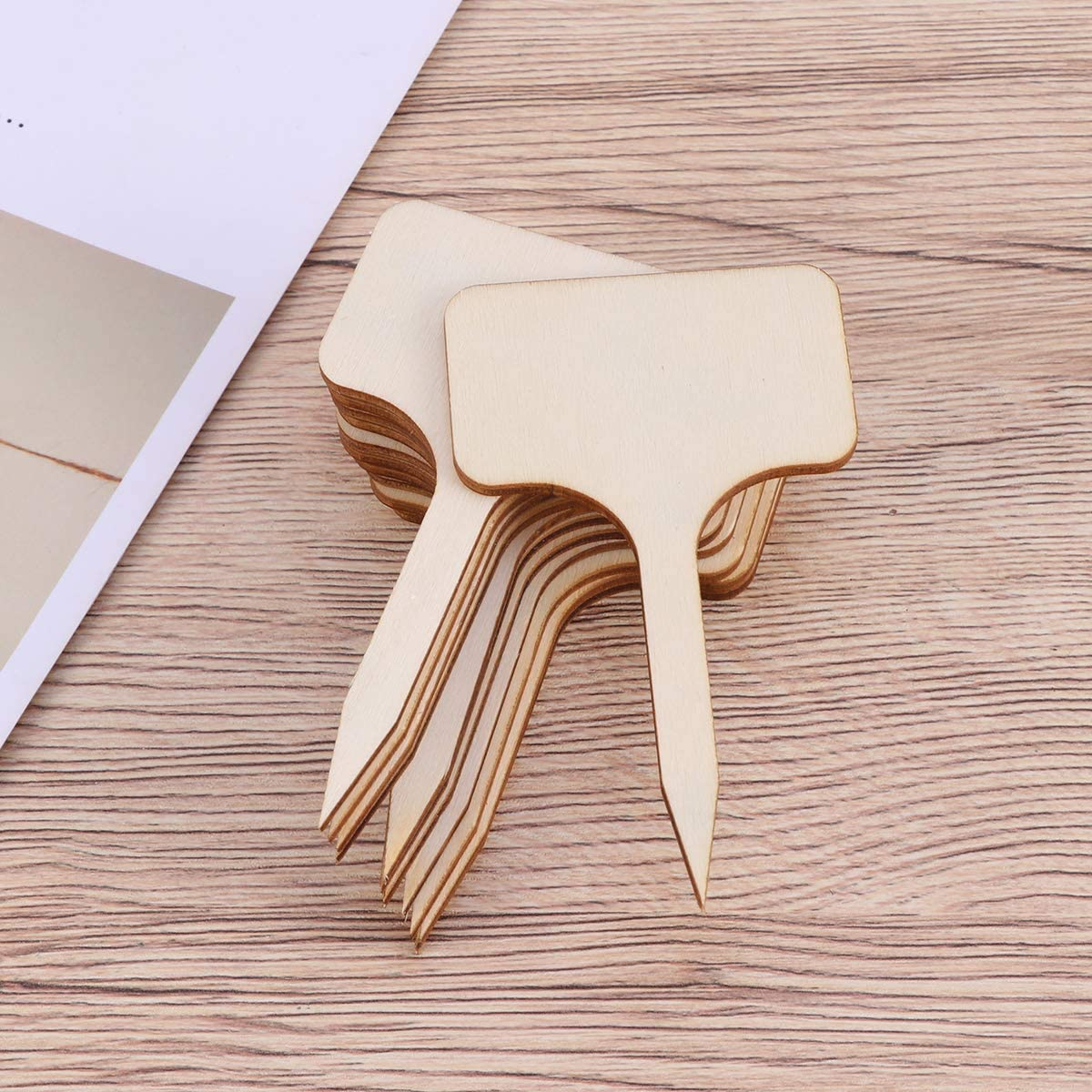 HEALLILY 50pcs T-Type Plant Labels Garden Plant Tags Tag Plant Markers Wood Plant Tags Small Plant Blackboard