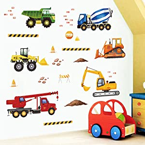 decalmile Construction Wall Decals Trucks Vehicles Wall Stickers Kids Bedroom Boys Room Playroom Wall Decor