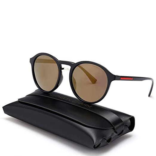 d16d3f8edd DRAGON CHARM Unisex Classic Small Round Retro Sunglasses Polarized Mirror  G8910 Golden Reflective Lens Black Frame