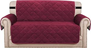 "H.VERSAILTEX Sofa Cover Quilted Thick Velvet Plush Couch Cover for 2 Cushion Sofa Slipcover Protector from Pets Dogs, Non-Slip Two Elastic Straps on Back and Base (Loveseat 54"", Burgundy)"
