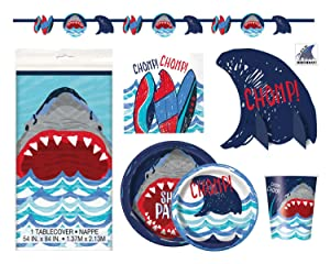 Shark Theme Party Supplies - Plates, Cups, Napkins and Decorations - Boys Pool or Birthday Party Supplies (Deluxe - Serves 16)