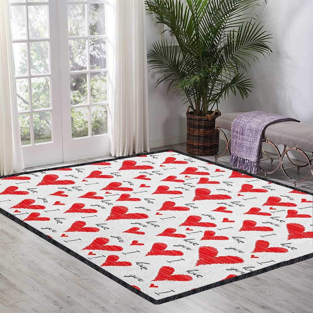 Love Modern Area Rug with Non-Skid,Hand Written I Love You Phrases Heart Symbols Valentines Day Inspiration Decor Carpet Popular Colors Vermilion Black White 47''x59'' by Philip C. Williams