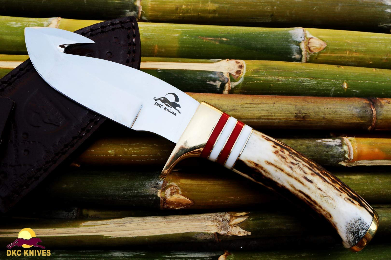 DKC Knives DKC-717-GH-440c Bald Eagle Gut Hook 440c Stainless Steel Bowie Hunting Handmade Knife Stag Horn Fixed Blade 10'' Long 4.75'' Blade 10oz