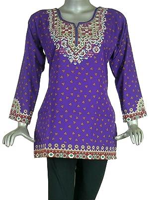 Printed Tunic Kurti Top Traditional India Clothes