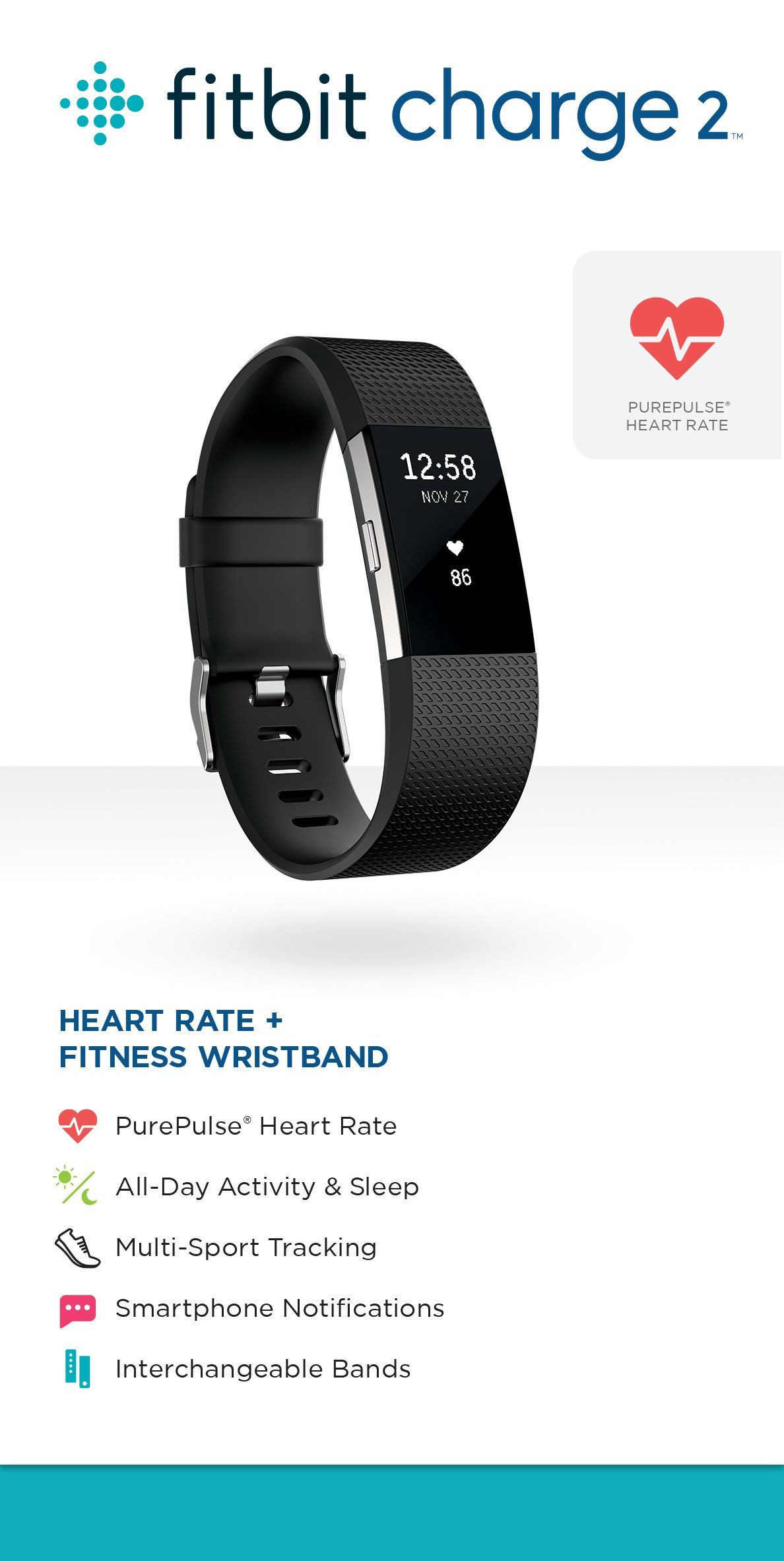 Fitbit Charge 2 Superwatch Wireless Smart Activity and Fitness Tracker + Heart Rate and Sleep Monitor Smart Wristband, Black, Small (5.5-6.7 in) (Renewed) by Fitbit (Image #7)