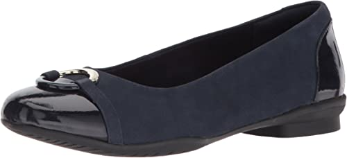 Ladies Clarks Neenah Vine Black Or Navy Leather Flat Pumps E Fitting