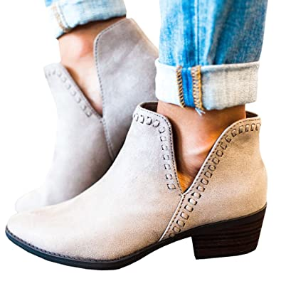 Women Cute Western Cowboy Bootie Pointed Toe Slip On Low Heel Ankle Boot