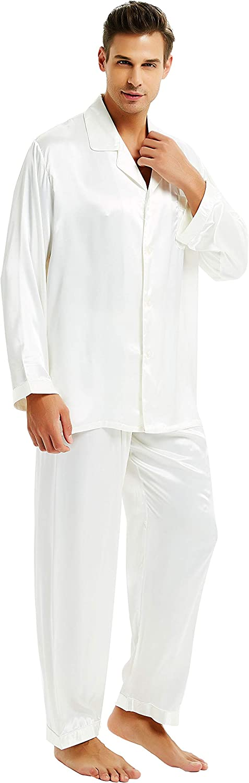 Lonxu Mens Satin Long Button-Down Pajamas Set, S M L XL 2XL 3XL 4XL