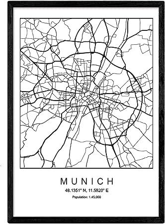 Nacnic Lámina Mapa de la Ciudad Munich Estilo nordico en Blanco y ...