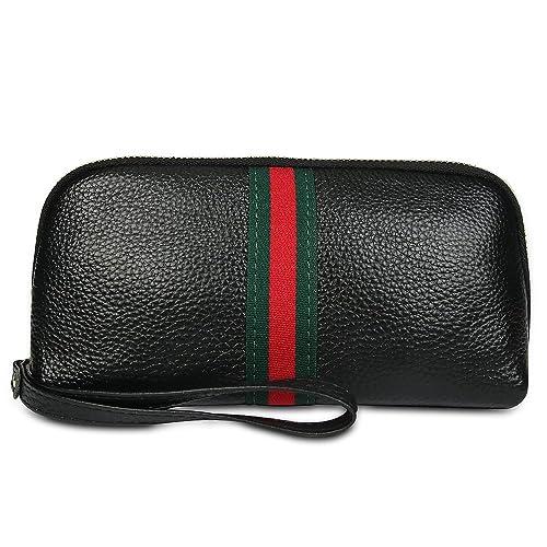 Soft Leather Wristlet Purses for Women Designer Wristlet Wallet with Strap ( black) 8645c208da172