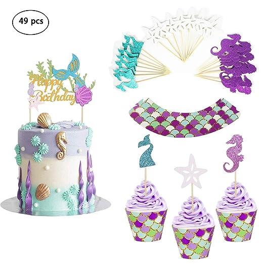 Envoltorios y adornos para cupcakes de sirena, decoración ...