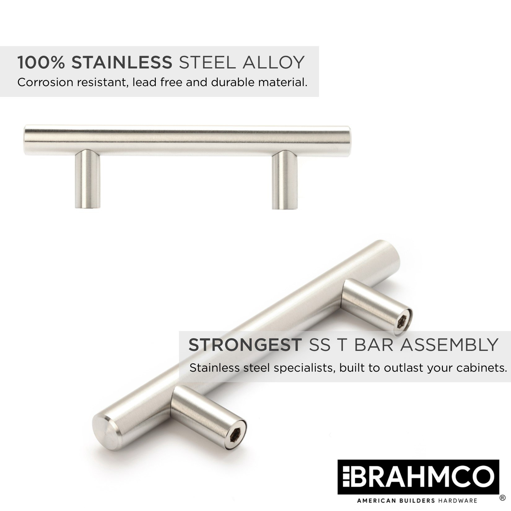 30 Pack | 5'' Stainless Steel T Bar Cabinet Pulls: 3 Inch Hole Spacing | Brahmco 180-5 | Modern Euro Style Brushed Satin Nickel Finish Kitchen Cabinet Handles Hardware/Drawer by Brahmco (Image #8)
