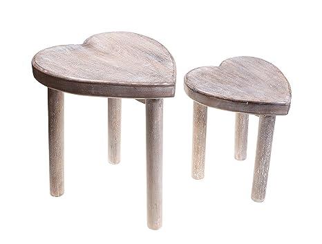 Set di sgabelli in legno a forma di cuore amazon casa e cucina