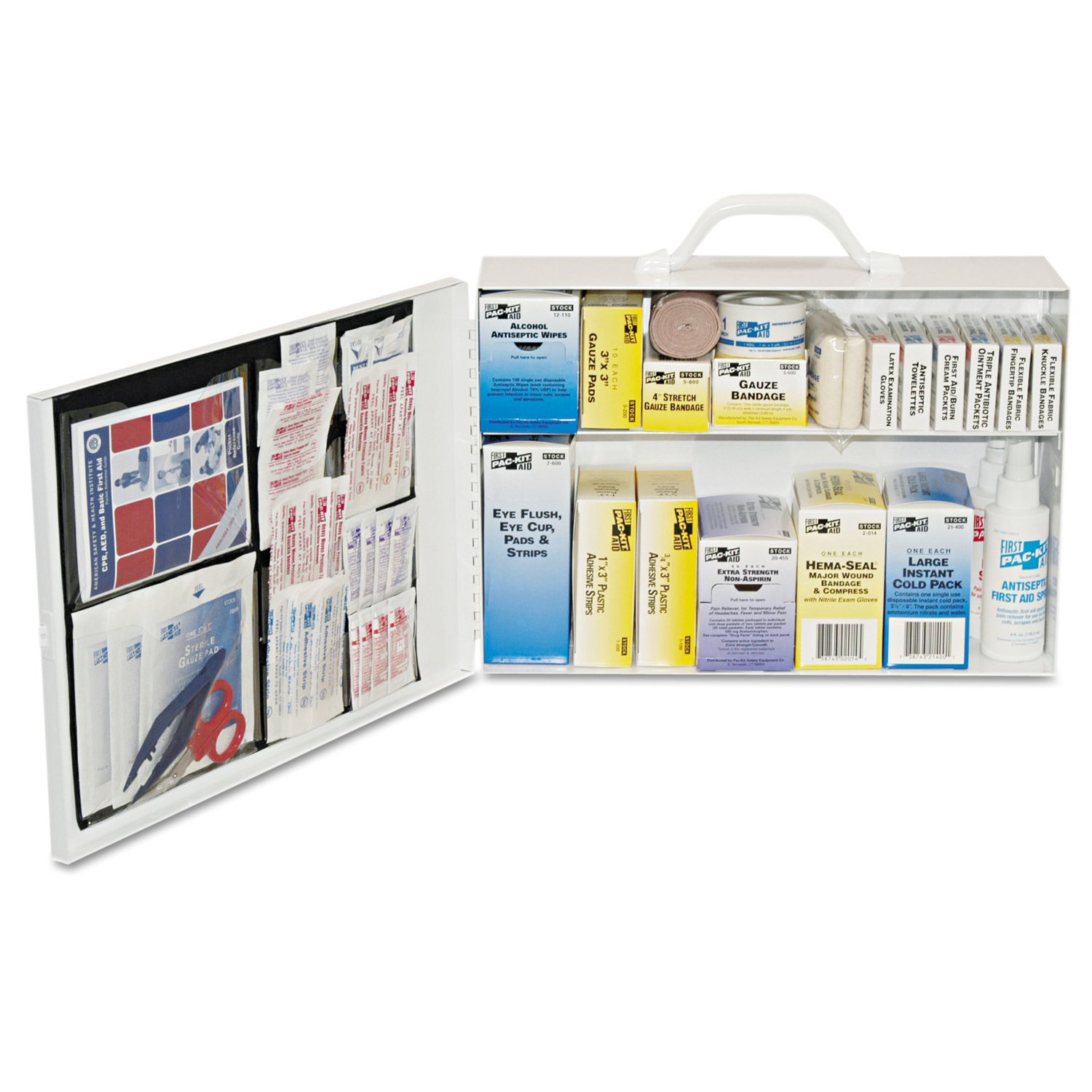 Pac-Kit by First Aid Only 6135 435 Piece Steel Cabinet Industrial 2 Shelf First Aid Station