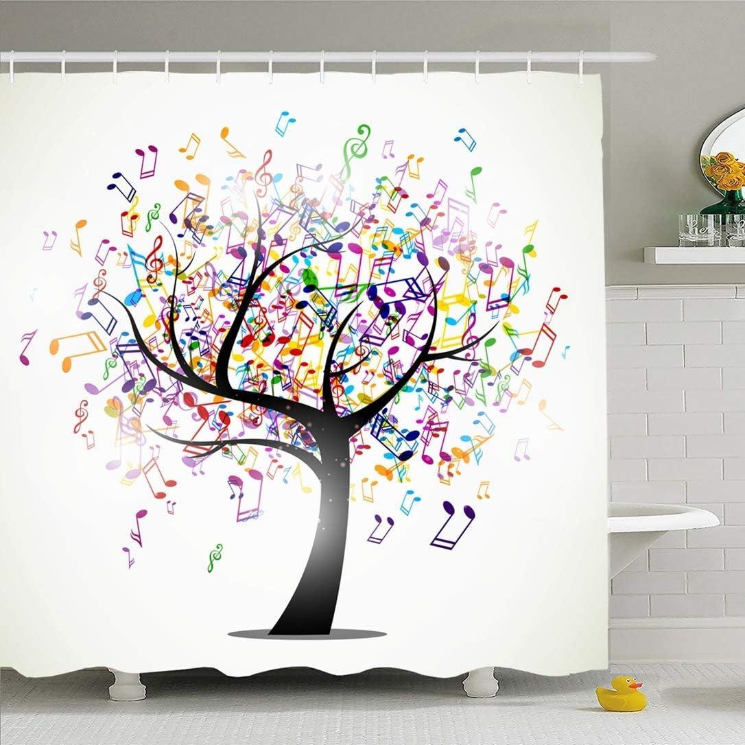 AdaCrazy Concept num/érique avec la Musique Abstraite Propre futuriste Abstraite Note Design Composition Symbole Microfibre Salle de Bains Rideau de Douche Moderne Salle de Bains Rideau 71x71 Pouces