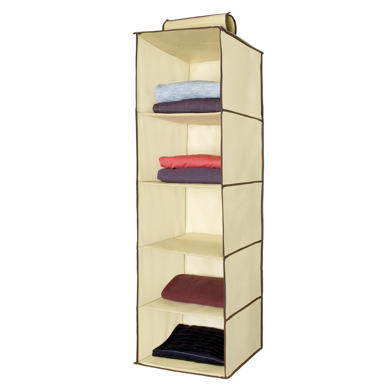 Amazon.com: Ziz Home Hanging Closet Organizer | 5 Shelf Beige | Closet  Hanging Organizer | Closet Organizer Hanging Shelves | Sweater Hanging  Organizer ...