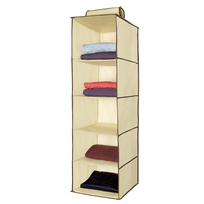 Ziz Home Hanging Closet Organizer | 5 Shelf Beige | Closet Hanging Organizer | Closet Organizer Hanging Shelves | Sweater Hanging Organizer | Hanging Clothes Storage Box Hanging Shelf Closet Organizer