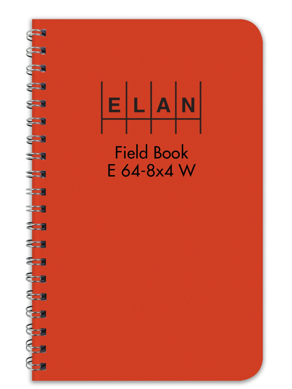 Elan Publishing Company E64-8x4W Wire-O Field Surveying Book 4 ⅞ x 7 ¼ Bright Orange Stiff Cover (Pack of 24)