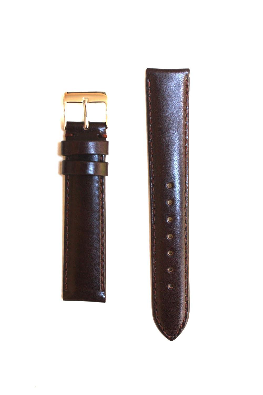 20 mm Longブラウン光沢Calfskinレザーバンドヌバック裏地とS / Sバックル  B0054117LQ