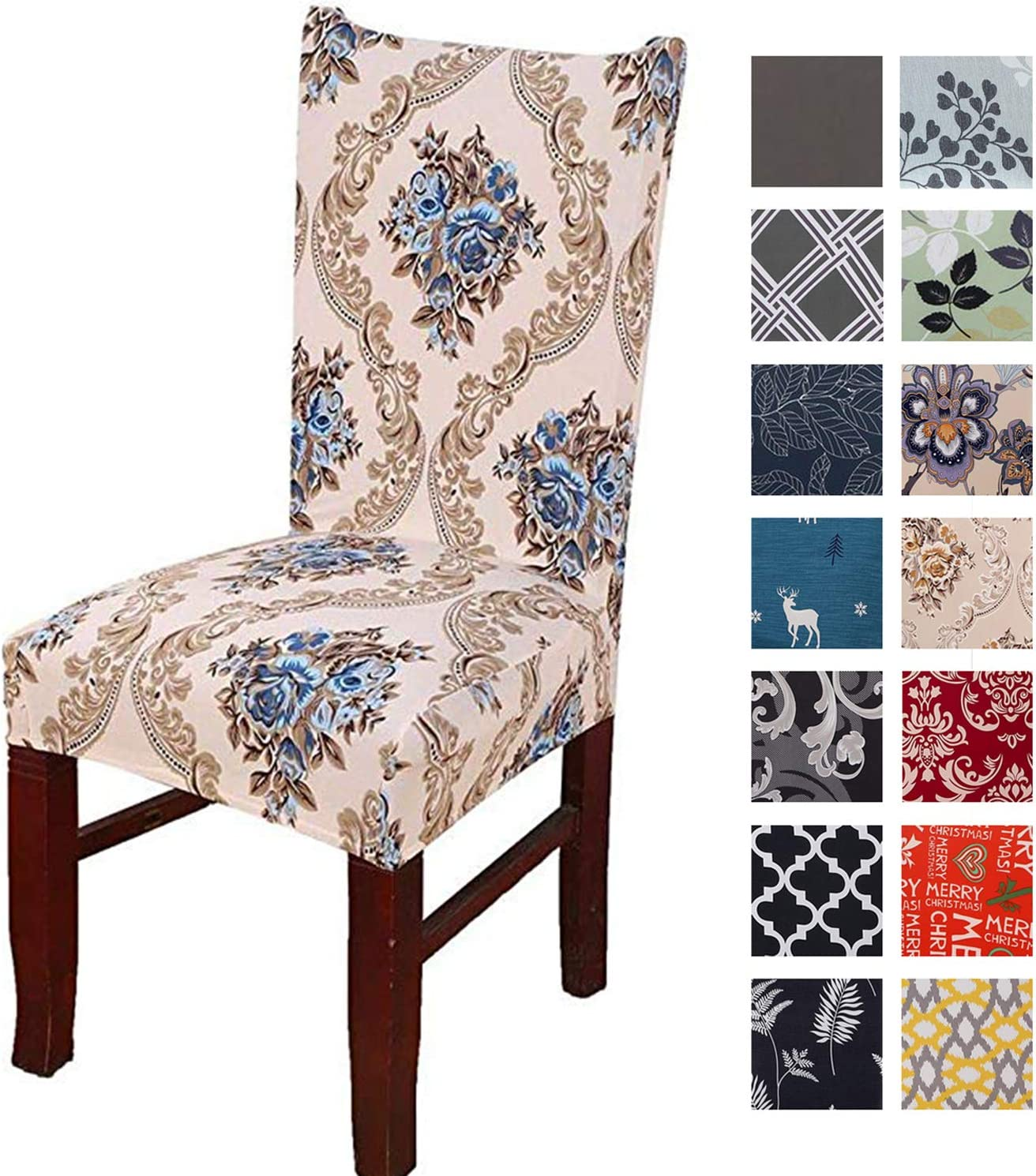 Printed Dining Chair Slipcovers, Removable Washable Soft Spandex Stretch Chair Covers Banquet Chair Seat Protector Slipcover for Kitchen Home Hotel (Set of 4, Brown)