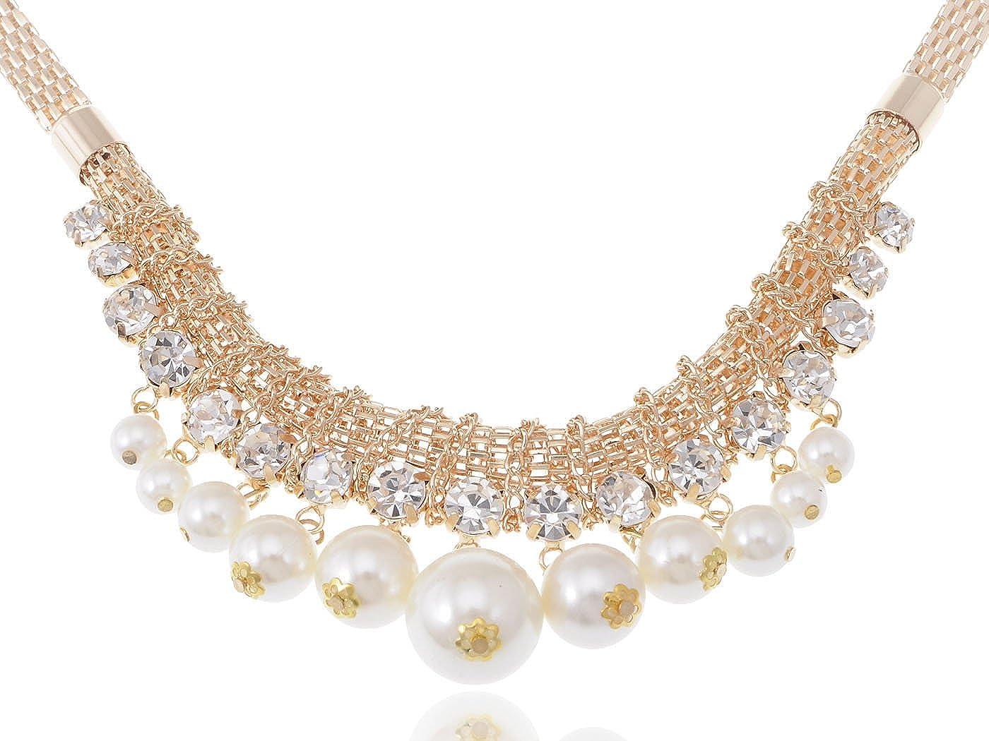 83eed80fffa49 Amazon.com: Alilang Women Gold Elegant Clear Rhinestone Pearl Woven ...