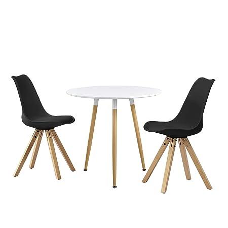 en.casa]®] Set de Comedor Mesa Redonda Blanca [Ø80cm] con 2 sillas ...