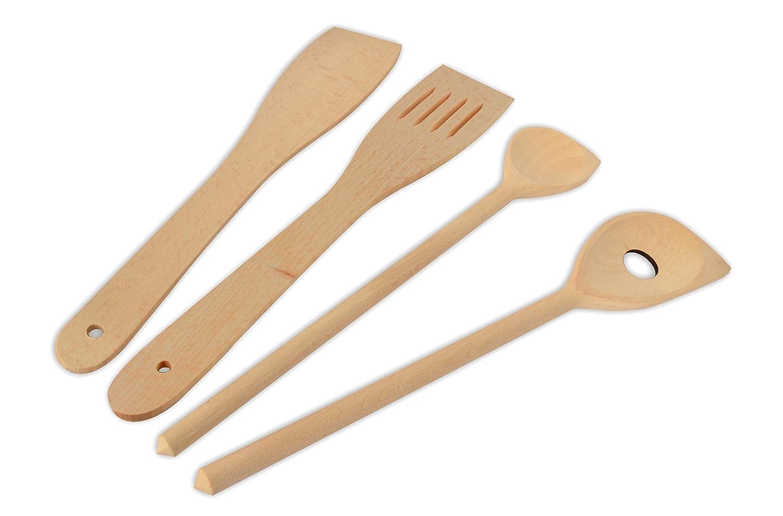 * Vierteiliges Küchenutensilien-Sortiment: 2 x Pfannenwender, Spitzlöffel, Lochkelle | Küchenwerkzeug aus robustem Buchenholz | ca. 30 cm Spitzlöffel Helmecke & Hoffmann