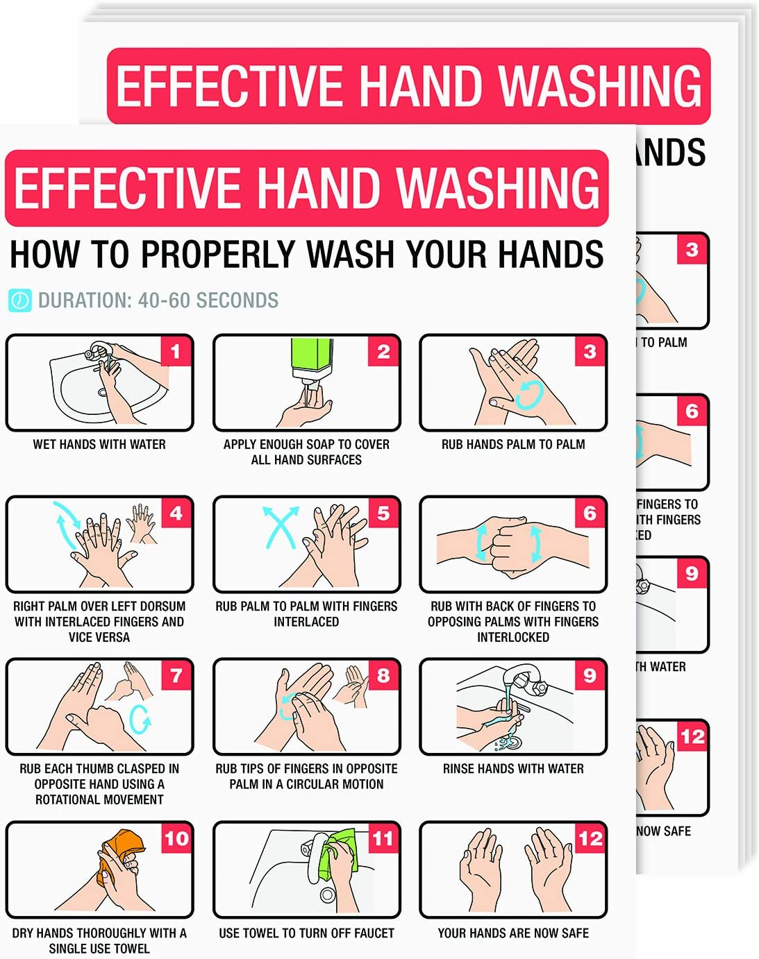 Hand Washing Poster Sign, How To Wash Your Hand Card, Hygiene and Sanitation Safety Poster | Great Use for Homes, Schools, Officers and Public Spaces, | 8.5 x 11 Inches | 5 per Pack (Laminated)
