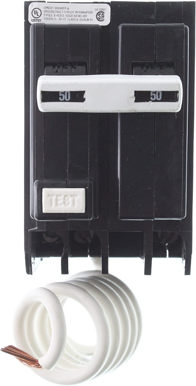 "GE THQL2150GF1 THQL Ground Fault Circuit Interrupter, 1"", 5.1"" x 15.7"" x 6"""
