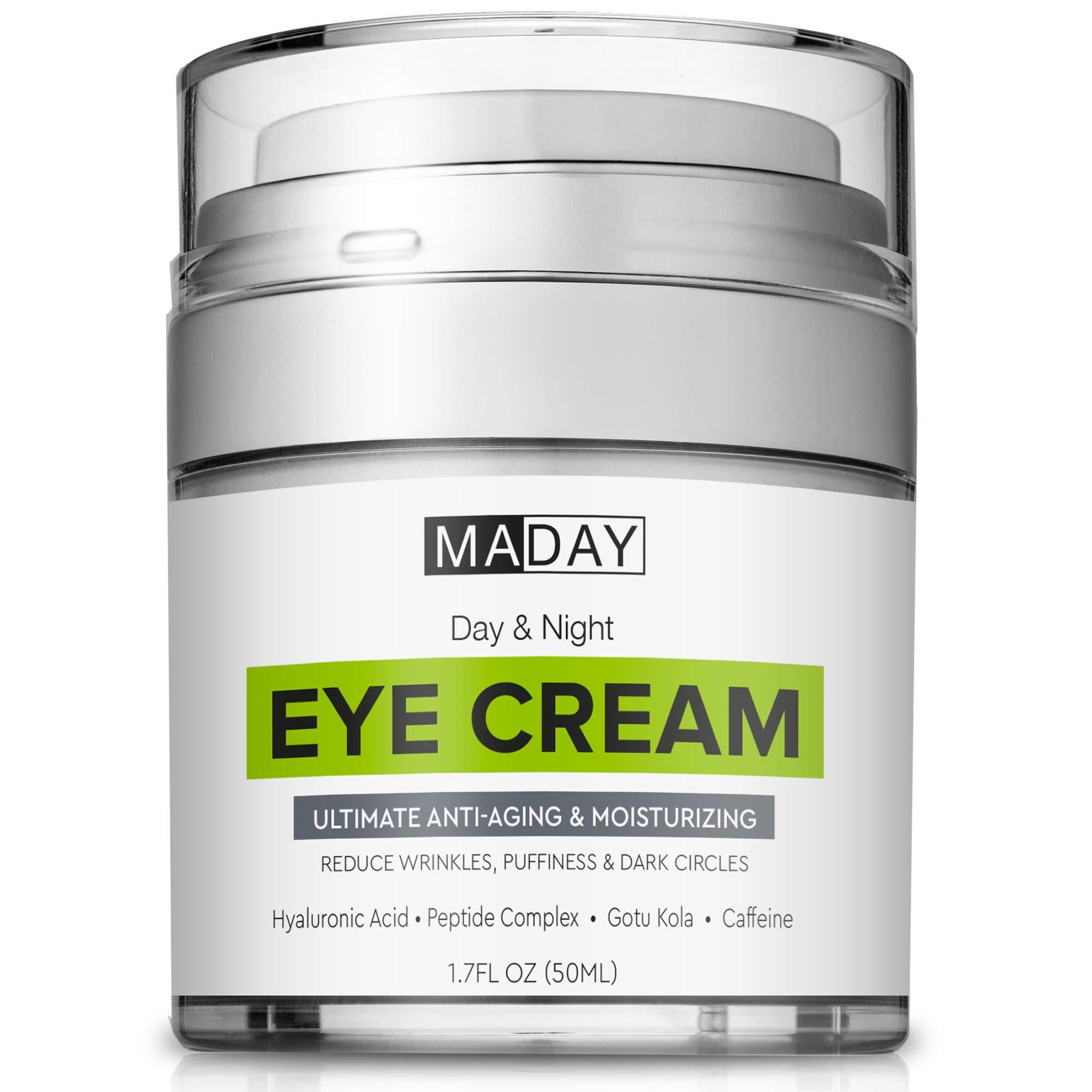 Eye Cream - Reduce Dark Circles, Puffiness & Under Eye Bags - Effective Anti-Wrinkles Treatment - Anti-Aging Eye Gel with Hyaluronic Acid, Gotu Kola Extract, Caffeine - Refreshing Eye Serum by MadayFormula
