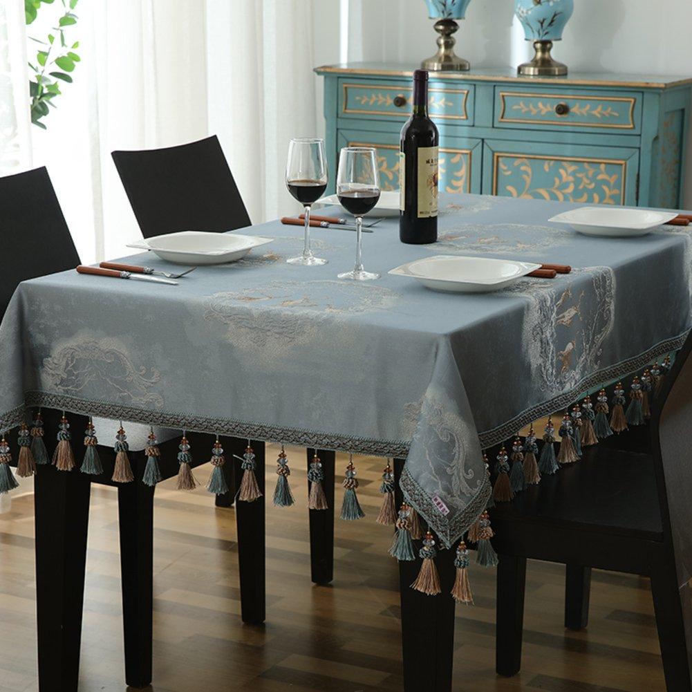Bbdsj Mantel de casa,Paño de tabla de familia de alto grado,Paño de tabla de familia moderna,Bordado En el oído(10cm) Mantel azul-Azul 140x240cm(55x94inch)