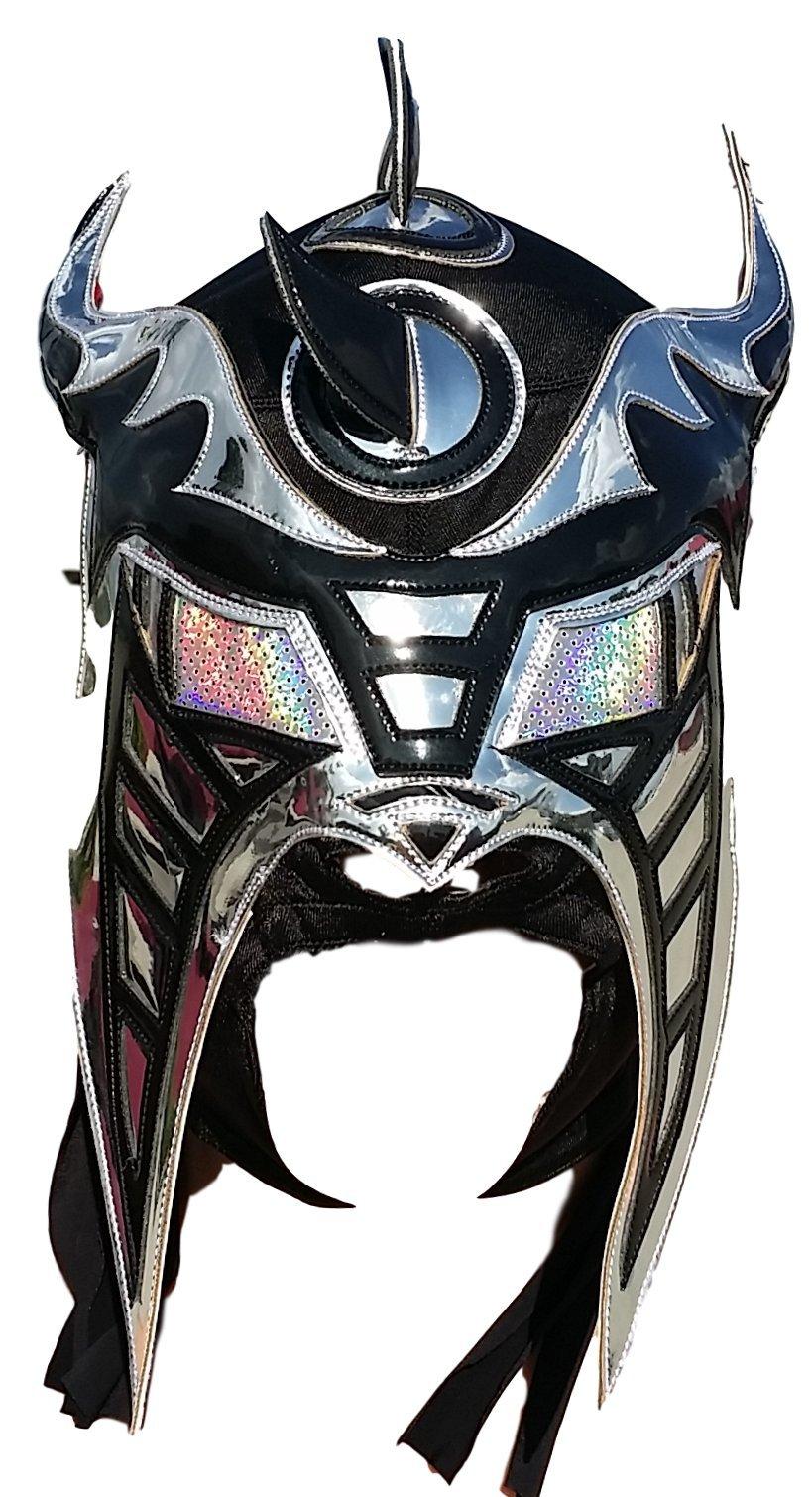 Hysteria Professional Lucha Libre Mask Adult Size Premium Quality (Black/Silver)