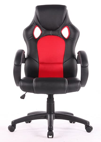 Eliza Tinsley - Silla Gaming, Estilo Silla de Carrera, Piel sintética, Poliuretano, Negro/Rojo, Back Width 510mm, Back Height 730mm, Seat Height 460-540mm, ...