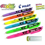 Pilot 4136s6Surligneur Frixion Light, Lot de 6, rose/jaune/vert/bleu/violet/orange avec gomme