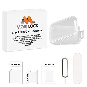 Mobi Lock Kit adaptador de tarjeta SIM 6 en 1 (Micro, Nano y estándar) con Lima de uñas y caja de almacenamiento para iPhone X, 8 y Todas las series ...